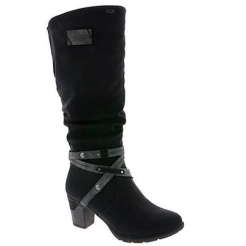 Rieker Womens Black Long Suede Breckland Heeled Boots