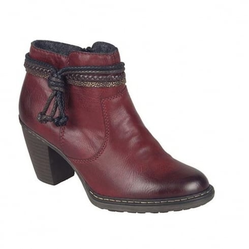 Rieker Womens Red Eagle Tassel Top Ankle Boots