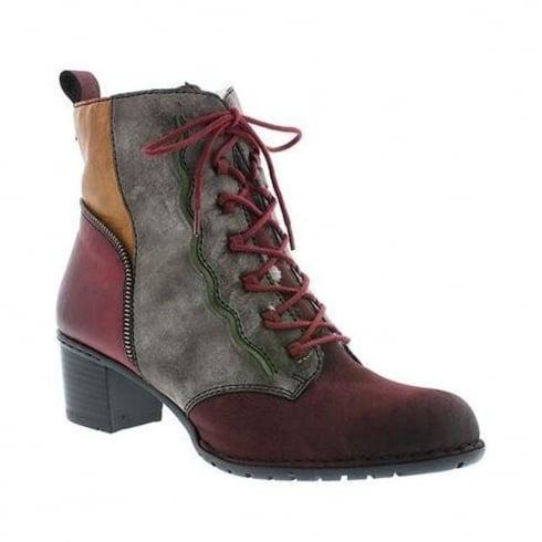 Rieker Womens Red/Grey Block Heel Ankle Boots