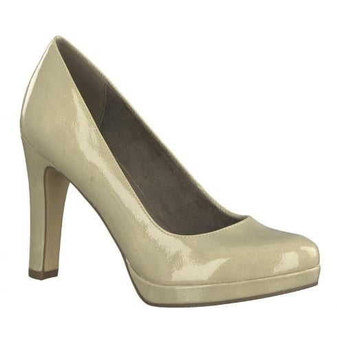 Tamaris Womens Cream Patent Court Heels - 22426