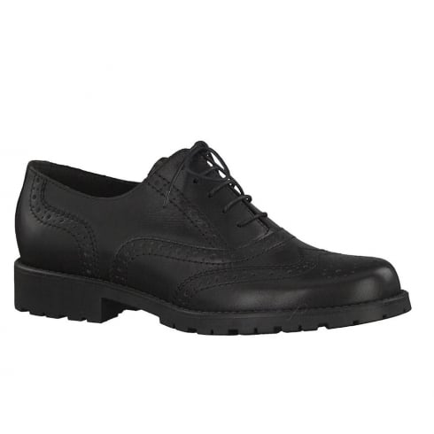 Tamaris Womens Black Leather Brogues Shoes