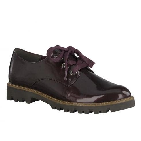 Tamaris Womens Bordeaux Patent Lace Up Shoes