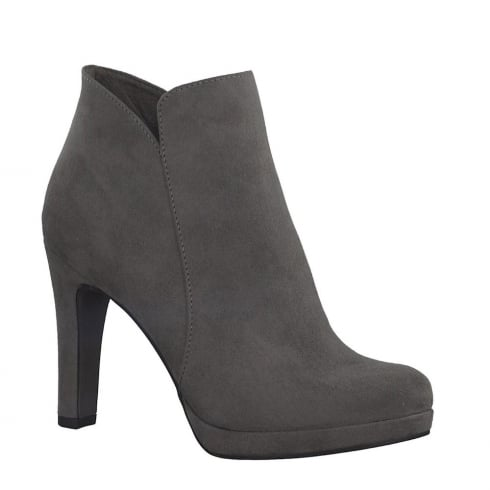 Tamaris Womens Graphite Faux Suede Heeled Ankle Boots