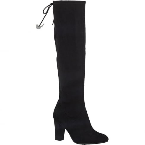 Tamaris Womens Black Faux Suede Long Stretch Boot
