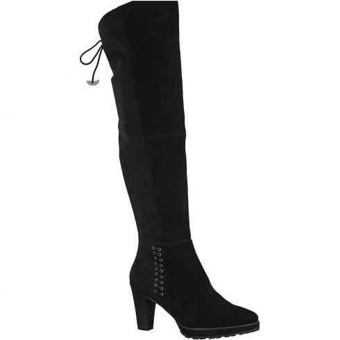 Tamaris Womens Black Faux Suede Long Boots