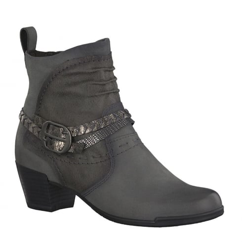 Tamaris Womens Anthracite Heeled Ankle Strap Boots