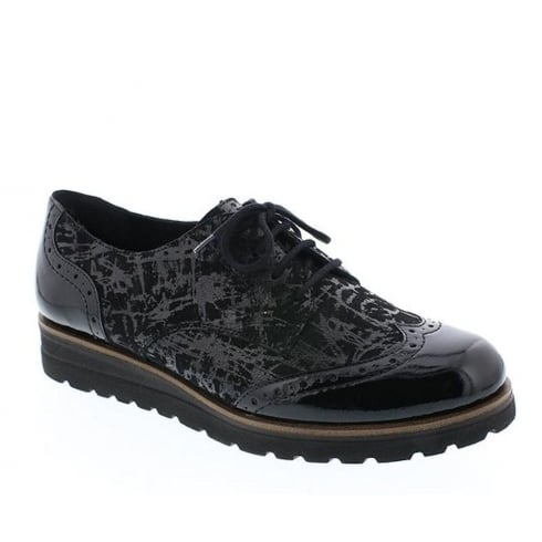 Remonte Ladies Black Leather Casual Lace Brogues
