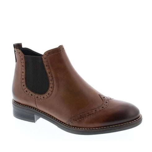 Remonte Ladies Chestnut Slip on Flat Ankle Boots