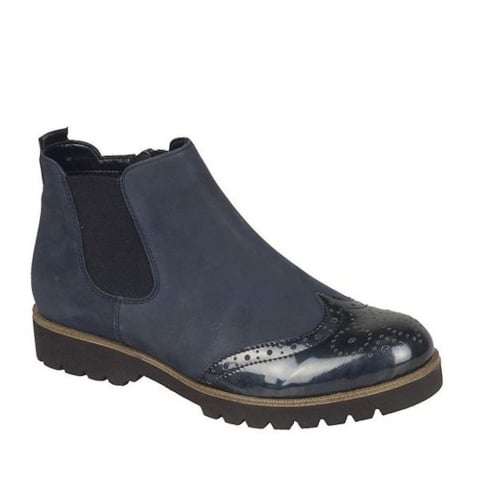 Remonte Ladies Navy Suede Flat Ankle Boots