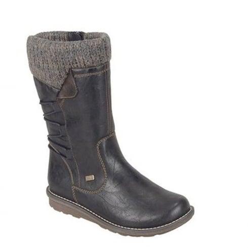 Remonte Ladies Black Waterproof Fleece Collar Boots