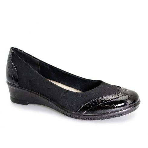 Lunar Women Natasha Elasticated Brogue Pump - Black