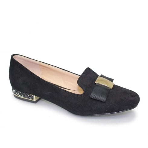 Lunar Rutter Womens Black Bow Trim Loafers
