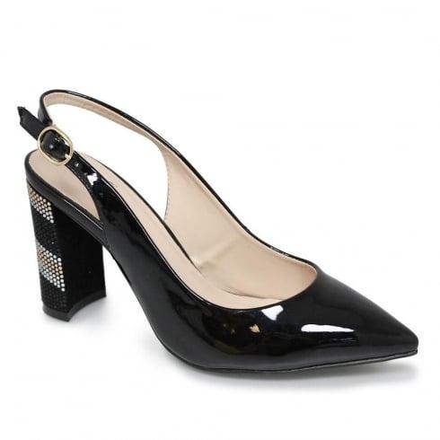 Lunar Cher Black Sling Back Strap Gemstone Heels