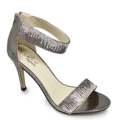 Lunar Clara Pewter Ankle Strap Evening Heels