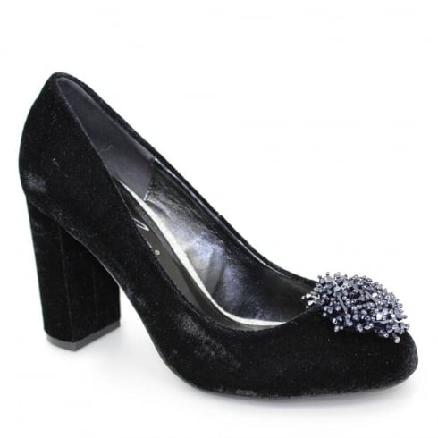 Lunar Coral Black Velvet Evening Court Block Heels