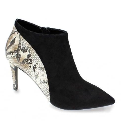 Lunar Lotty Black Suede Snake Print Heeled Ankle Shoe