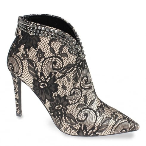 Lunar Fiona Black/Nude Mesh Heeled Ankle Boot