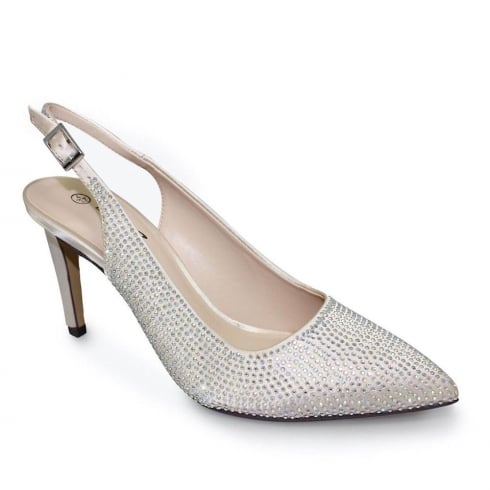 Lunar Delilah Champagne Elegance Slingback Gemstone Heels