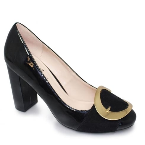 Lunar Patsy Black Bold Buckle Evening Court Block Heels