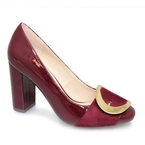 Lunar Patsy Burgundy Bold Buckle Evening Court Block Heels