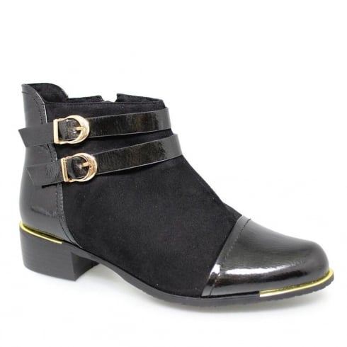 Lunar Milly Black Flat Fashion Ankle Boots