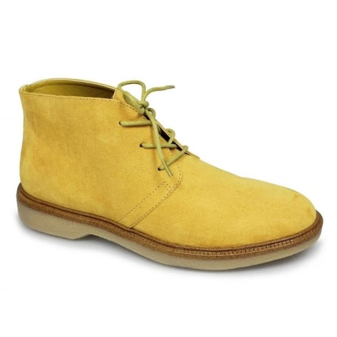 Lunar Virginia Tan/Yellow Flat Lace Up Ankle Boots