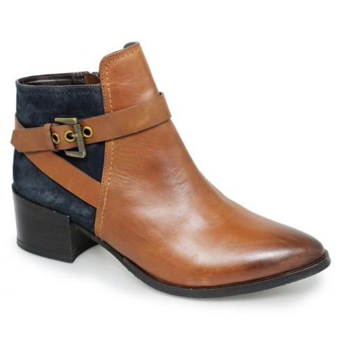 Lunar Lucille Tan/Navy Fashion Ankle Boots