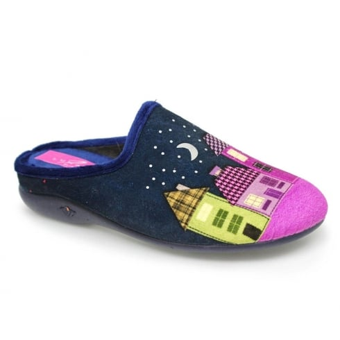 Lunar Womens Hamlet Blue/Navy Mule Slippers