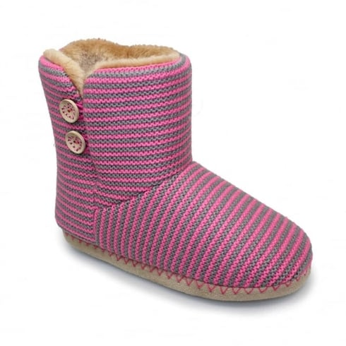 Lunar Womens Candy Bootee Pink Slippers