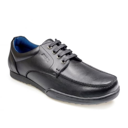 POD Pagan Black Leather Boys Lace Up School Shoes