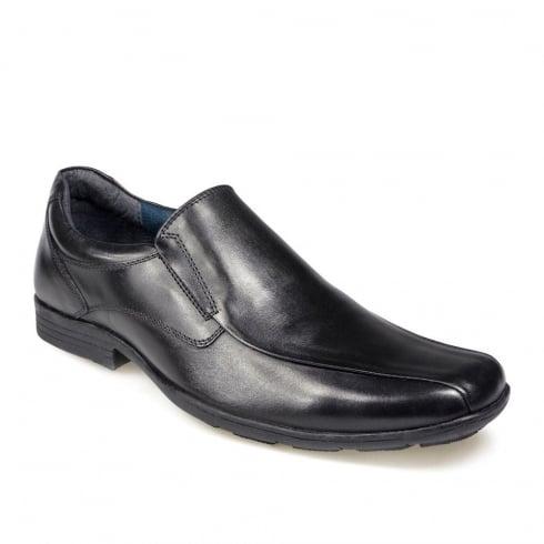 POD Boys Durham/Dundee Black Leather Slip On School Shoe