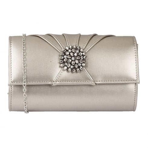 Lotus Aria Shiny Metallic Cluster Clutch Bag - Pewter