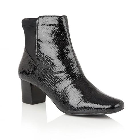 Lotus Swallow Black Animal Print Shiny Ankle Boots - 40303