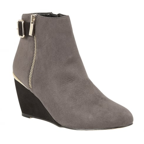 Lotus Cassia Grey/Black Microfibre Wedge Ankle Boots