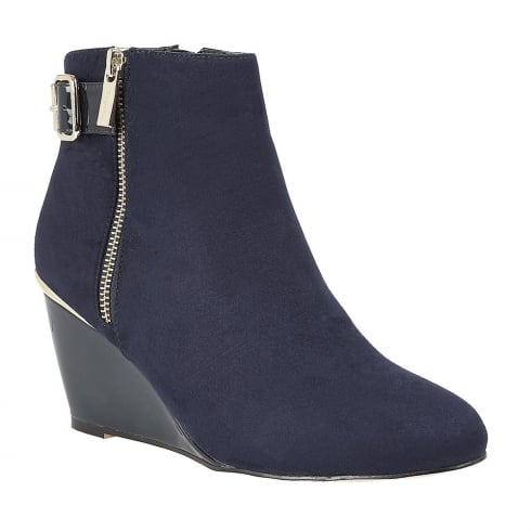 Lotus Cassia Navy Microfibre Wedge Ankle Boots