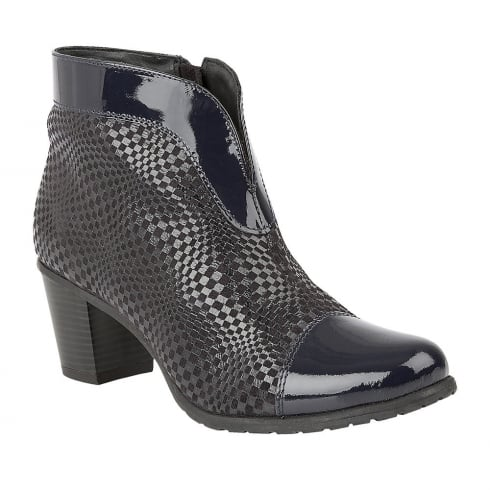 Lotus Beanie Navy Leather Heeled Ankle Boots