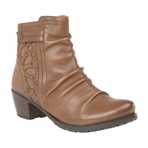 Lotus Maples Tan Leather Block Heel Ankle Boots