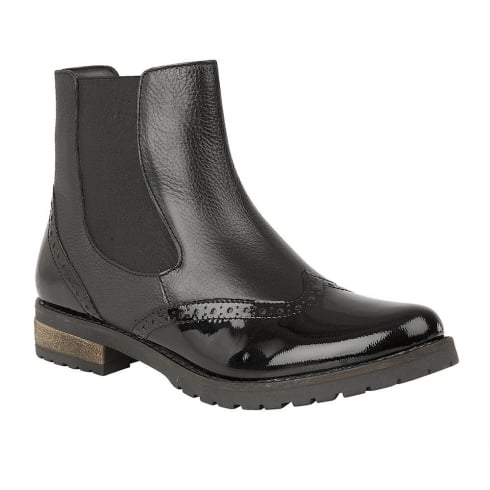 Lotus Brianza Black Leather/Patent Flat Ankle Boots