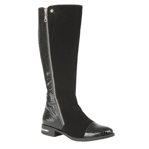 Lotus Pontal Black Patent Snake/Microfibre Knee Long Boots