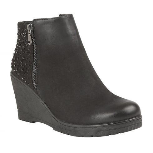 Lotus Brisa Black Distressed & Diamante Wedge Boots