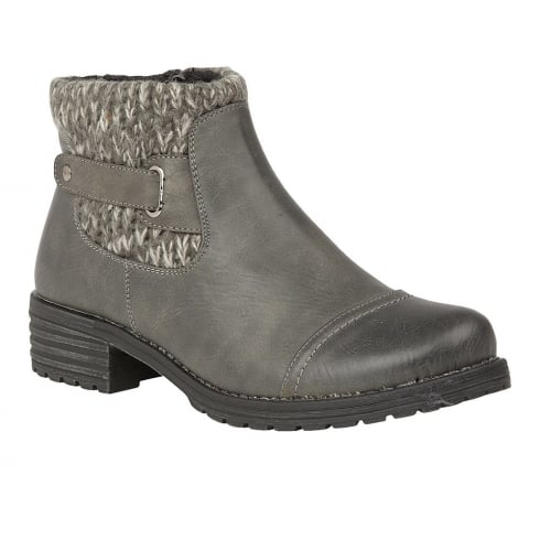 Lotus Ayla Grey Knitted Ankle Top Flat Boots