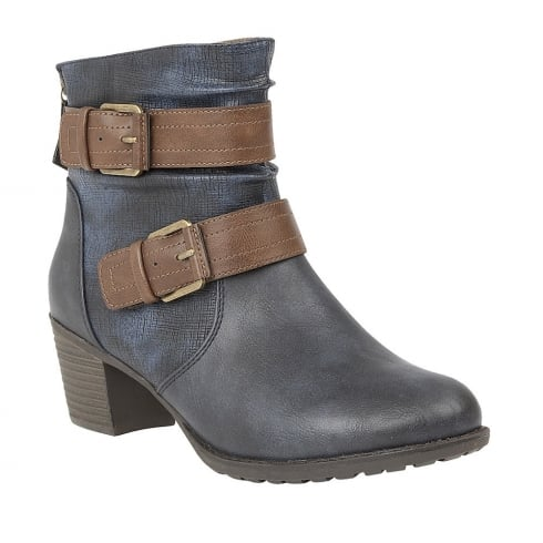 Lotus Glinda Navy-Tan Ankle Boots