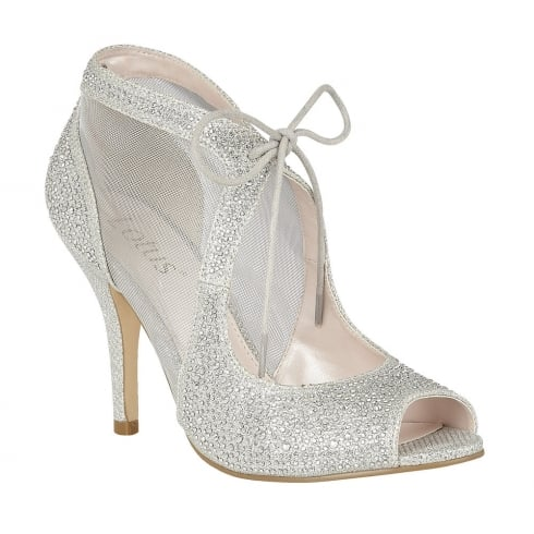 Lotus Vanille Silver Diamante Caged Heels