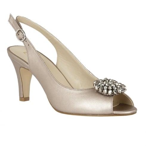 Lotus Elodie Pewter Metallic Sling-Back Court Shoes