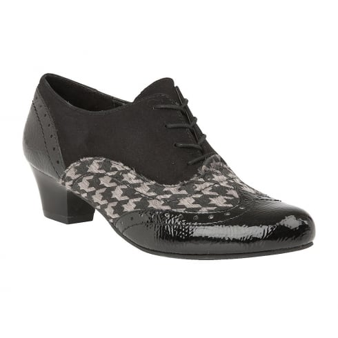 Lotus Otto Black Crinkle Shiny Pewter Print Lace Up Shoe