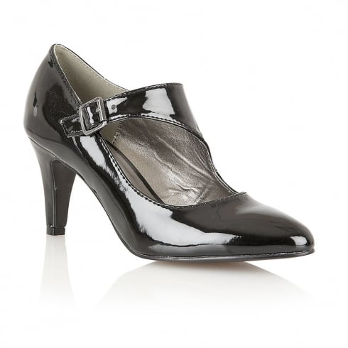 Lotus Laurana Black Shiny Court Shoes