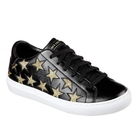 Skechers Womens Side Street Star Black/Gold Leather Sneakers 73535