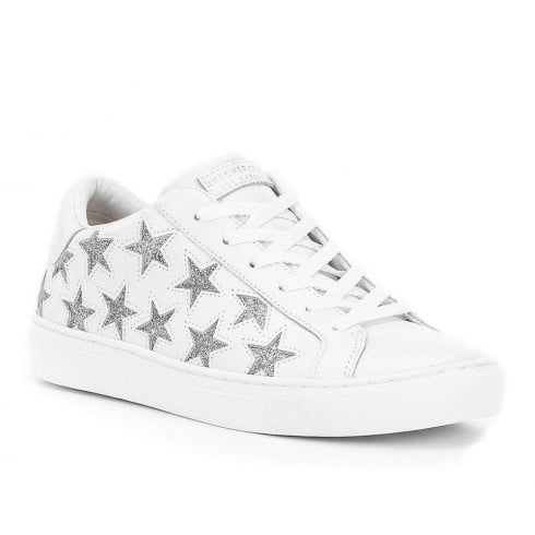 Skechers Womens Side Street Star White/Silver Leather Sneakers