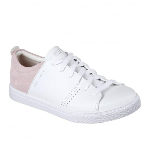 Skechers Womens Moda Clean Street White Leather Sneakers