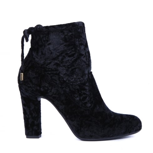 Unisa Paule Black Suede Block Heeled Ankle Boots